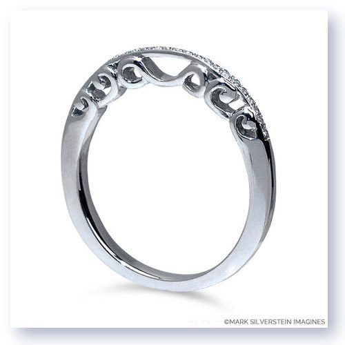 Mark Silverstein Imagines Polished 18K White Gold Sculpted Filigree and Diamond Wedding Band