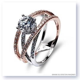 Mark Silverstein Imagines 18K White and Rose Gold and Diamond Strand Crossover Engagement Ring