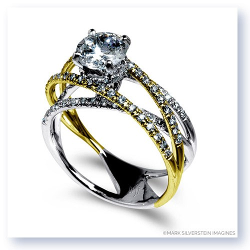 Mark Silverstein Imagines 18K White and Yellow Gold Diamond Strand Crossover Engagement Ring