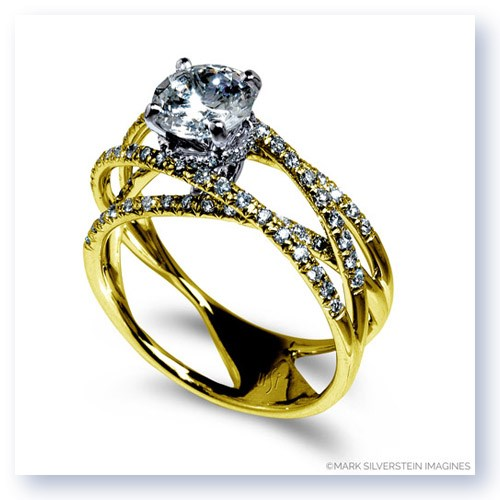 Mark Silverstein Imagines 18K Yellow Gold and Diamond Strand Crossover Engagement Ring