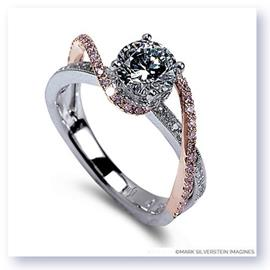 Mark Silverstein Imagines 18K White and Rose Gold White and Pink Diamond Swirl Strand Engagement Ring