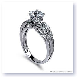 Mark Silverstein Imagines 18K White Gold Split Shank Open Wave and Diamond Engagement Ring