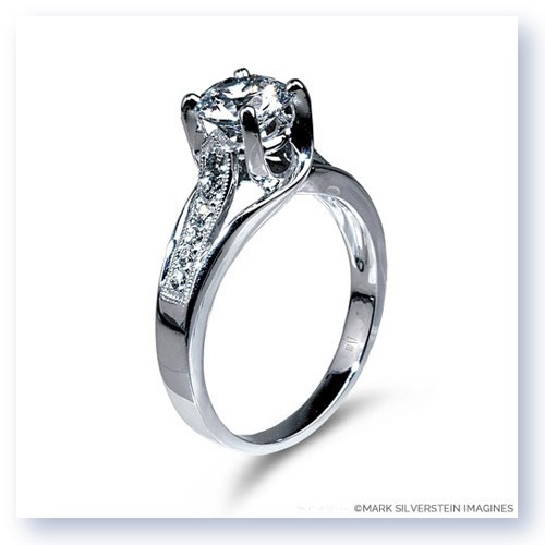 Mark Silverstein Imagines 18K White Gold Crossed Prong and Diamond Engagement Ring