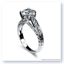 Mark Silverstein Imagines 18K White Gold Engraved Crossed Prong and Diamond Engagement Ring