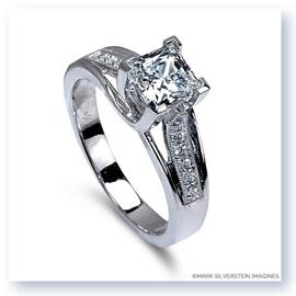 Mark Silverstein Imagines 18K White Gold Crossed Prong Square Stoneand Diamond  Engagement Ring