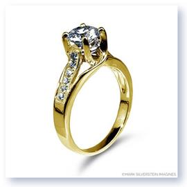 Mark Silverstein Imagines 18K Yellow Gold Crossed Prongand Diamond  Engagement Ring