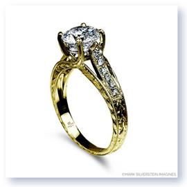 Mark Silverstein Imagines 18K Yellow Gold Engraved Crossed Prongand Diamond  Engagement Ring