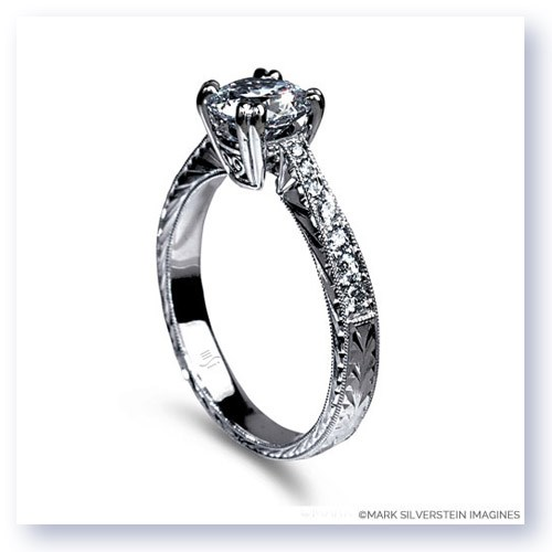 Mark Silverstein Imagines Engraved 18K White Gold Notched Engagment Ring