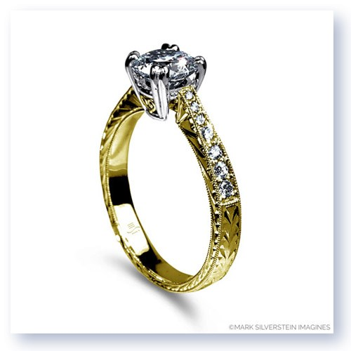 Mark Silverstein Imagines Engraved 18K Yellow Gold Notched Engagment Ring