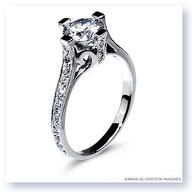 Mark Silverstein Imagines Polished 18K White Gold Cathedral Style Diamond Engagement Ring