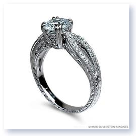 Mark Silverstein Imagines 18K White Gold Filigree and Split Shank and Diamond Engagement RIng