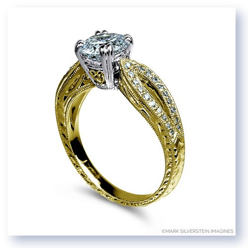 Mark Silverstein Imagines 18K Yellow Gold Filigree and Split Shank and Diamond Engagement RIng