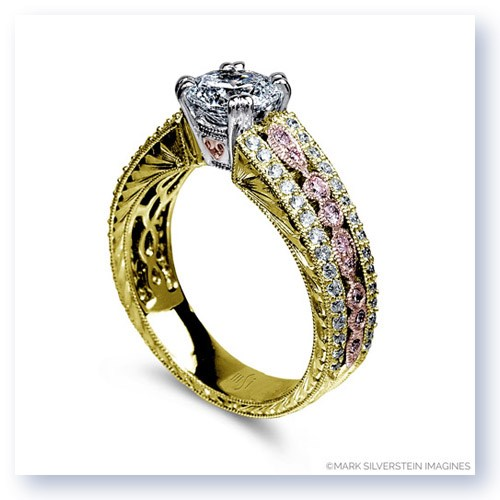 Mark Silverstein Imagines 18K Rose and Yellow Gold Engraved Vintage Pink and White Diamond  Engagement Ring