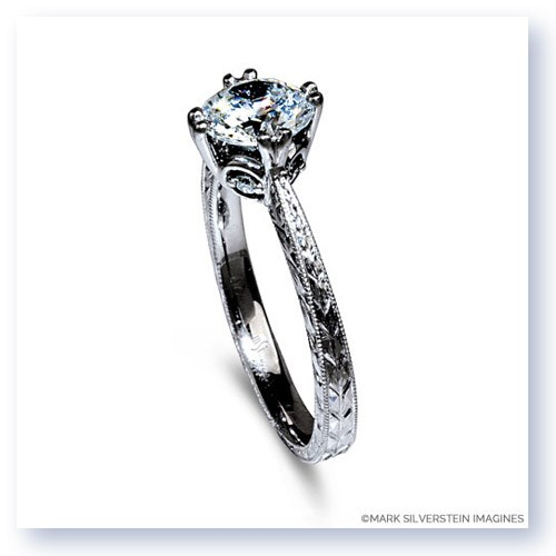 Mark Silverstein Imagines 18K White Gold Engraved Modern Diamond Engagement Ring