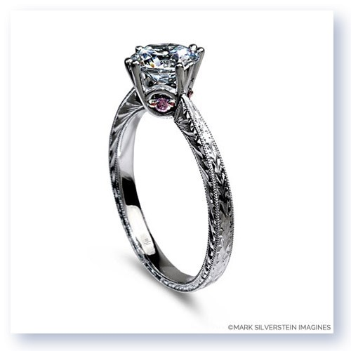 Mark Silverstein Imagines 18K White Gold Engraved Modern White and Pink Diamond Engagement Ring
