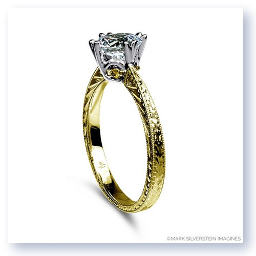Mark Silverstein Imagines 18K Yellow Gold Engraved Modern White and Yellow Diamond Engagement Ring