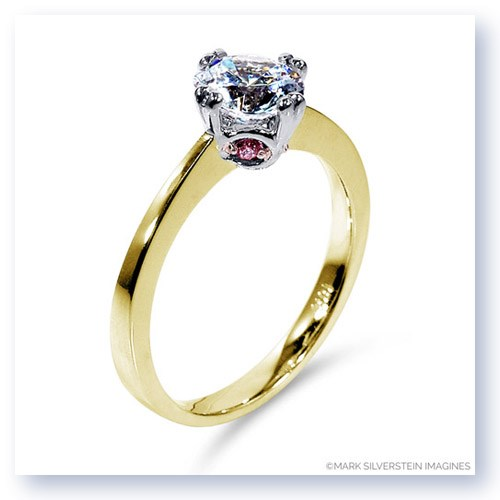 Mark Silverstein Imagines 18K Yellow Gold Modern White and Pink Diamond Engagement Ring