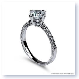 Mark Silverstein Imagines Hand Engraved 18K White Gold Diamond Accent Engagement Ring