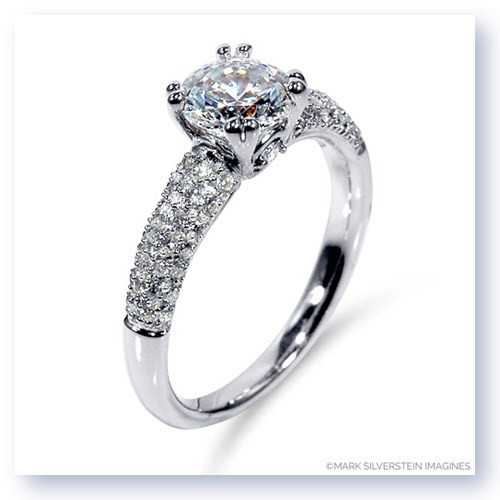 Mark Silverstein Imagines 18K White Gold Diamond Accent and Pavé Tapered Engagement Ring