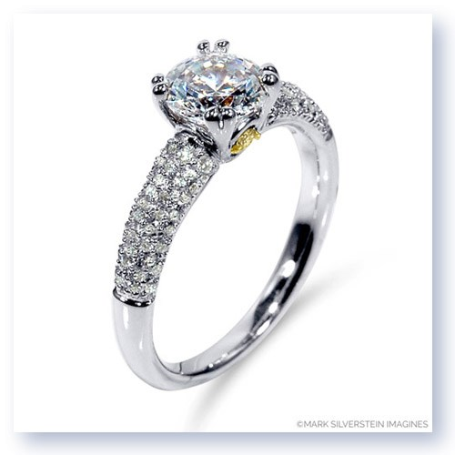 Mark Silverstein Imagines 18K White Gold Yellow Diamond Accent and Pavé Tapered Engagement Ring