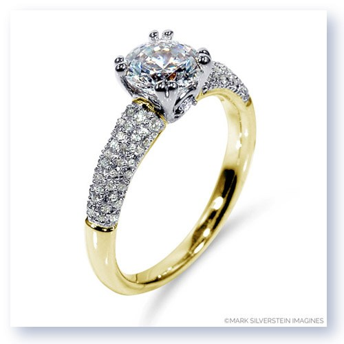 Mark Silverstein Imagines 18K Yellow Gold Diamond Accent and Pavé Tapered Engagement Ring