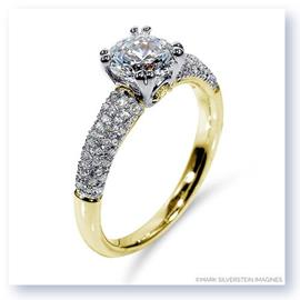 Mark Silverstein Imagines 18K Yellow Gold Yellow Diamond Accent and Pavé Tapered Engagement Ring