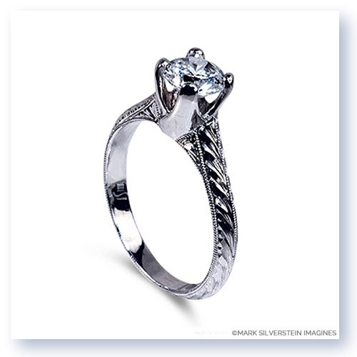 Mark Silverstein Imagines Hand Engraved 18K White Gold Tulip Twist Engagement Ring