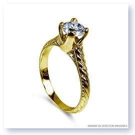 Mark Silverstein Imagines Hand Engraved 18K Yellow Gold Tulip Twist Engagement Ring
