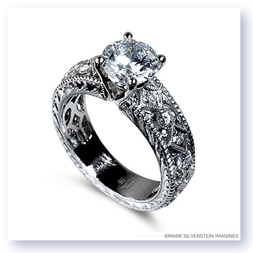 Mark Silverstein Imagines Hand Engraved 18K White Gold Vintage Estate Inspired Diamond Engagement Ring