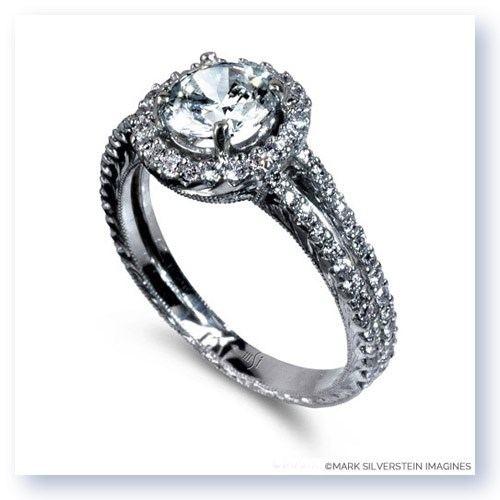 Mark Silverstein Imagines Hand Engraved 18K White Gold Circle Halo Pavé Diamond Engagement Ring