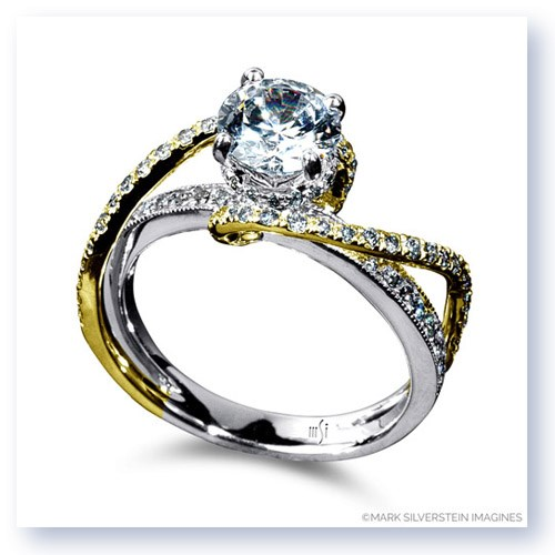 Mark Silverstein Imagines 18K White and Yellow Gold Double Strand Twist Diamond Engagement Ring