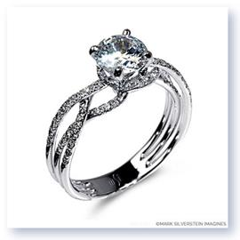 Mark Silverstein Imagines Polished 18K White Gold Thin Crossover Diamond Engagement Ring
