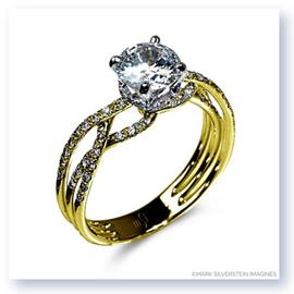 Mark Silverstein Imagines Polished 18K Yellow Gold Thin Crossover Diamond Engagement Ring