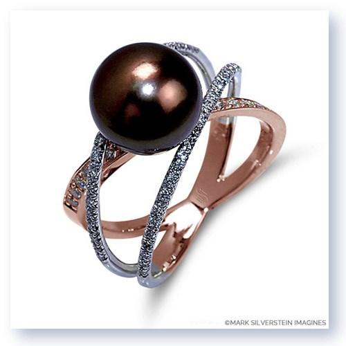 Mark Silverstein Imagines Two Tone 18K White and Rose Gold Three Strand Crossover Diamond and South Sea Pearl Ring