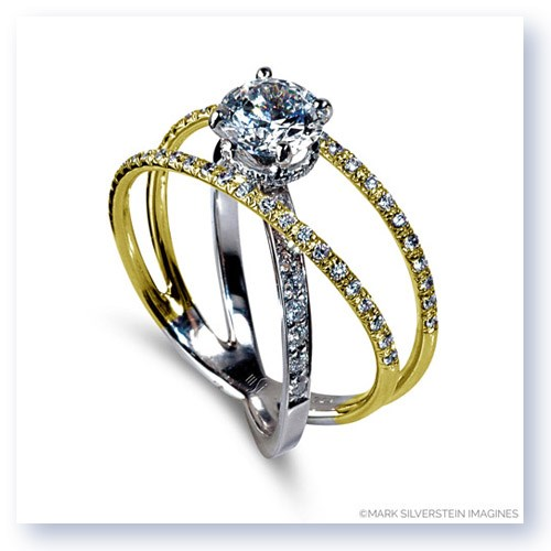 Mark Silverstein Imagines Two Tone 18K White and Yellow Three Strand Crossover Diamond Engagement RIng