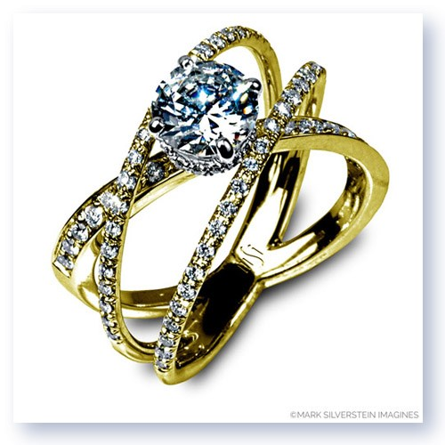 Mark Silverstein Imagines 18K Yellow Three Strand Crossover Diamond Engagement RIng