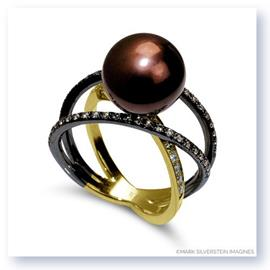 Mark Silverstein Imagines Two Tone 18K Yellow Gold and Black Rhodium Three Strand Crossover Diamond and Pearl Ring