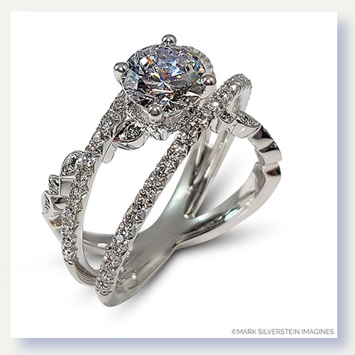 Mark Silverstein Imagines 18K White Gold Three Strand Crossover Diamond Engagement Ring