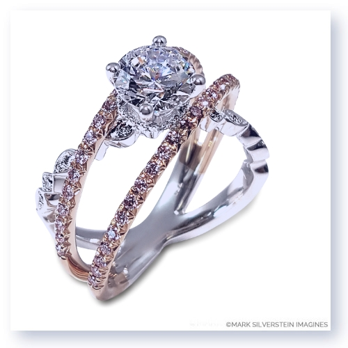 Mark Silverstein Imagines Two Tone 18K White and Rose Gold Three Strand Crossover Diamond Engagement Ring
