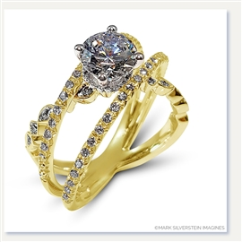 Mark Silverstein Imagines 18K Yellow Gold Three Strand Crossover Diamond Engagement Ring