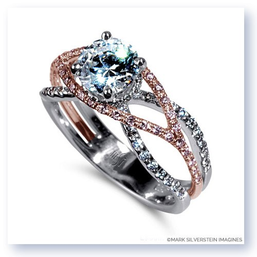 18K White and Rose Gold Wispy Crossover White and Pink Diamond Engagement Ring