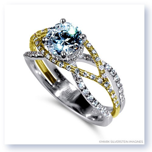 Mark Silverstein Imagines 18K White and Yellow Gold Wispy Crossover Diamond Engagement Ring