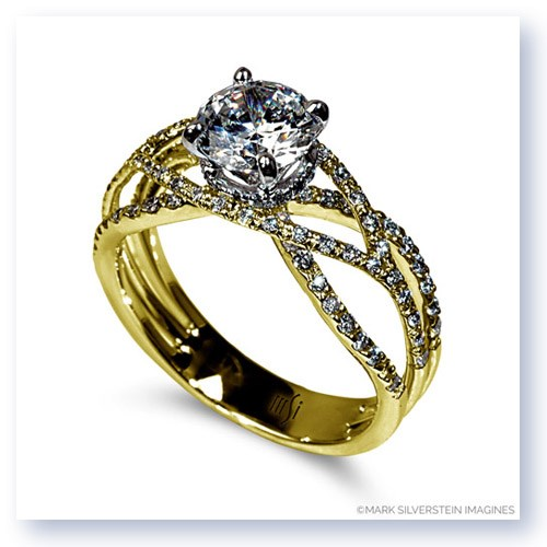 Mark Silverstein Imagines 18K Yellow Gold Wispy Crossover Diamond Engagement Ring