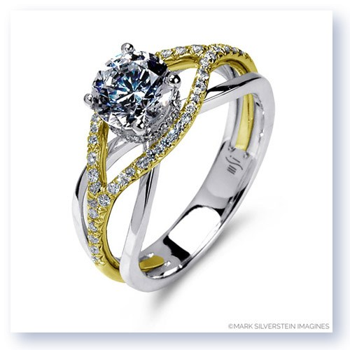 Mark Silverstein Imagines 18K White and Yellow Gold Wispy Crossover Diamond and Polished Engagement Ring