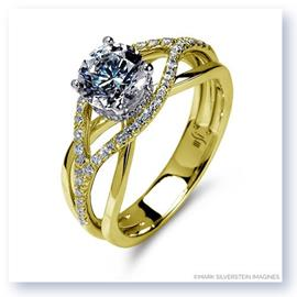 Mark Silverstein Imagines 18K Yellow Gold Wispy Crossover Diamond and Polished Engagement Ring