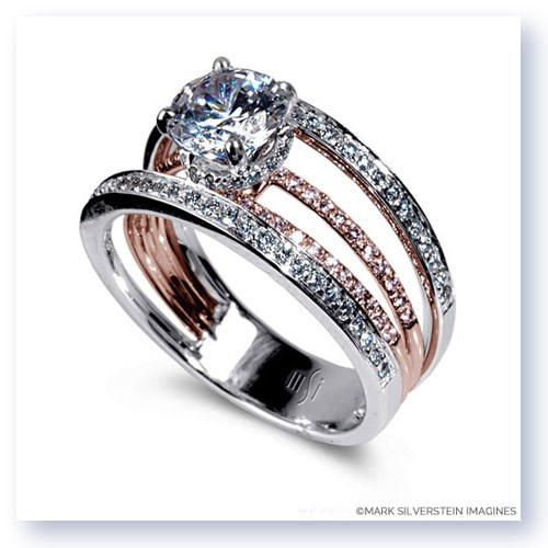 Mark Silverstein Imagines 18K White and Rose Gold Four Stepped Row Pink and White Diamond Engagement Ring