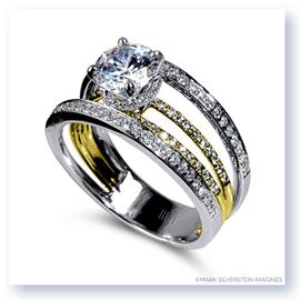 Mark Silverstein Imagines 18K White and Yellow Gold Four Stepped Row Diamond Engagement Ring