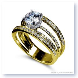 Mark Silverstein Imagines 18K Yellow Gold Four Stepped Row Diamond Engagement Ring