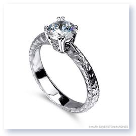 Mark Silverstein Imagines Hand Engraved 18K White Gold Solitaire Engagement Ring