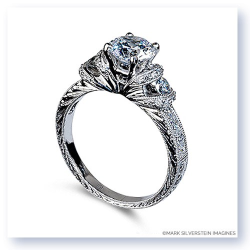 Mark Silverstein Imagines Hand Engraved 18K White Gold Fan Design Engagement Ring